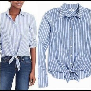 JCrew - Blue and White Button Up Top